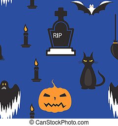 Seamless Halloween holiday pattern, (coffin, candle, pumpkin,ghost,) dark blue.