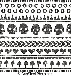Seamless halloween pattern in tribal style. Vector background with grunge texture.