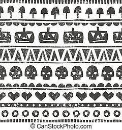 Seamless halloween pattern in tribal style. Vector background with pumpkins, skulls, mushrooms and hearts.