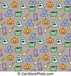 Seamless halloween pattern on gray background