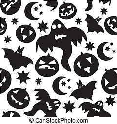Seamless halloween pattern with black ghosts on white background. Vector illustration.