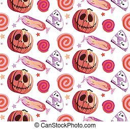 Seamless Halloween pattern with candies