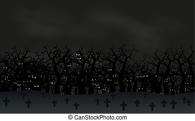 Seamless halloween poster background. Foggy landscape of graveyard with scary bats eyes in dark for