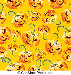Seamless halloween pumkins pattern