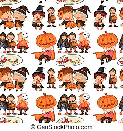 Seamless halloween theme with children in costume