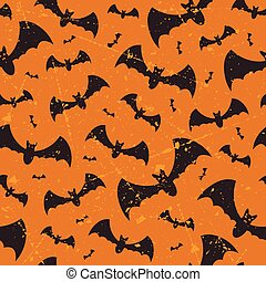Seamless Halloween vector grunge pattern with bats