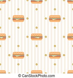 seamless hamburger with gold dot glitter pattern on stripe background