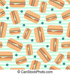 seamless hamburger with green dot glitter pattern on green stripe background