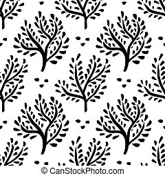 seamless, hand, bomen, bos, getrokken, ornament., floral, achtergrond
