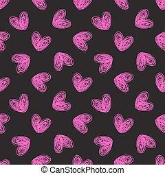 seamless, hand-drawn, 심혼, 패턴