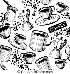Seamless hand drawn coffee pattern