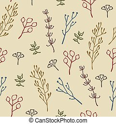 Seamless hand drawn floral pattern of colourful plants, green leaves, berries twigs, grass and rose hip on beige background. Doodle vintage style vector design for fabric textile, wrapping paper