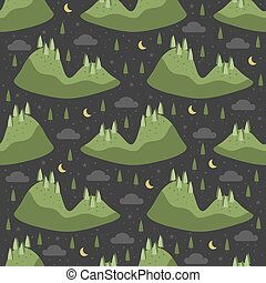 seamless hand drawn green forrest island pattern with night sky background