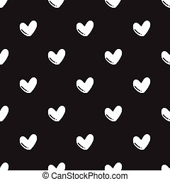 Seamless hand drawn heart shape pattern on black