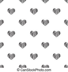 Seamless hand drawn heart shape pattern on white