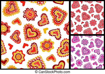 Seamless hand-drawn hearts patterns