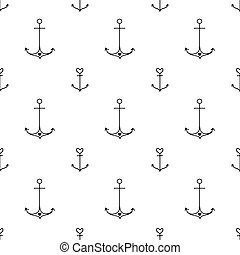 Seamless hand drawn nautical pattern