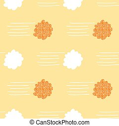 seamless hand drawn orange glitter cloud and wind pattern background