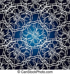 Seamless hand drawn pattern, dark blue background , vintage design, vector illustration.