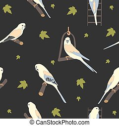 Seamless hand drawn pattern with beautiful birds