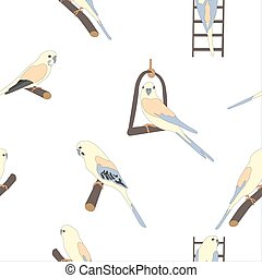Seamless hand drawn pattern with beautiful birds.