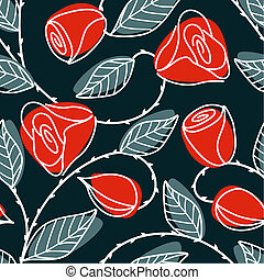 Seamless hand drawn pattern with large red roses