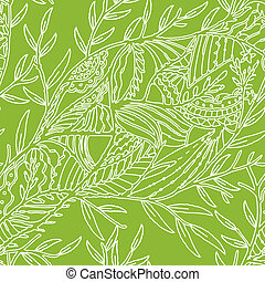 Seamless hand drawn pattern with leaves