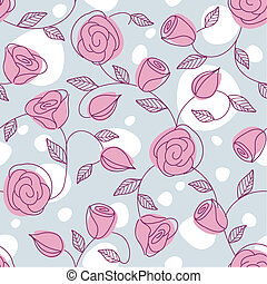 Seamless hand drawn pattern with pink roses