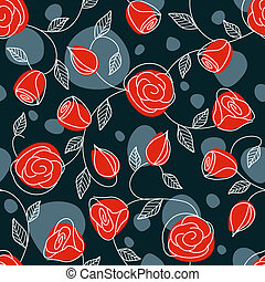 Seamless hand drawn pattern with red roses - Hand drawn...