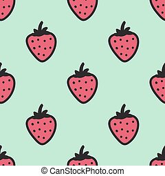 Seamless hand-drawn pattern with strawberry. Vector illustration.