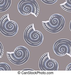 Seamless hand drawn texture of shells. Vector Illustration