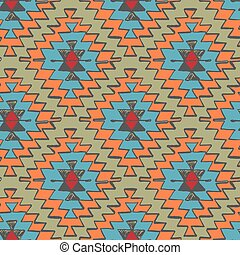 Seamless hand drawn tribal navajo pattern in doodle style.