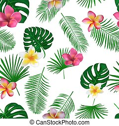 Seamless hand drawn tropical vector pattern with orchid flowers and exotic palm leaves on white background.