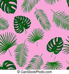 Seamless hand drawn tropical vector pattern  exotic palm leaves