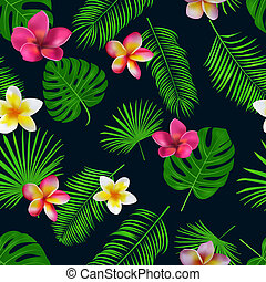 Seamless hand drawn tropical vector pattern with orchid flowers and exotic palm leaves on dark background.