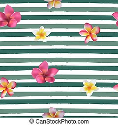 Seamless hand drawn tropical vector pattern with orchid flowers  on striped background.