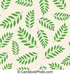 Seamless hand drawn vector doodle floral pattern with green leaves