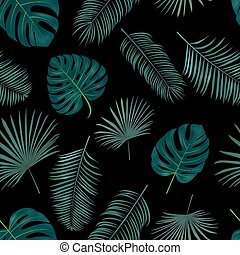 Seamless hand drawn  vector pattern with green palm leaves on dark background.