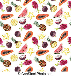 Seamless hand drawn Watercolor Tropical Pattern on white background.