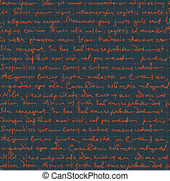 Seamless handwritings on cell patterned background. Vector, EPS10