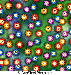 Seamless Happy Flowers
