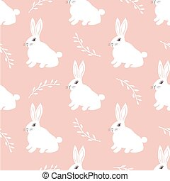 Seamless hare pattern. Cute little Bunny on a pink...