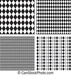 Seamless Harlequin Patterns - Harlequin patterns, 4 seamless...