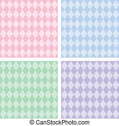 Seamless Harlequin Patterns, Pastel