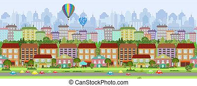 seamless, határ, noha, egy, cityscape., panoráma