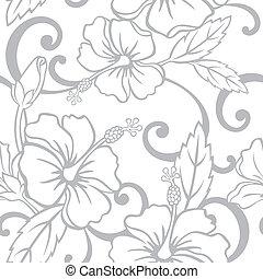 Seamless Hawaiian Wedding Pattern - Vector Illustration of a...