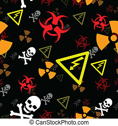 Seamless hazard background - Hazard and danger symbols form...