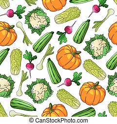 Seamless healthy vegetables pattern background