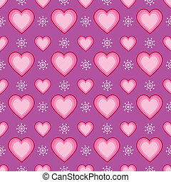 Seamless Heart and Snowflake Patter