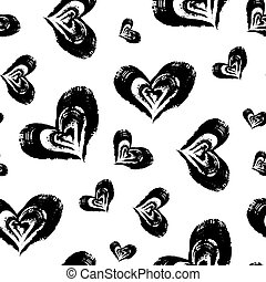 Seamless heart pattern. Hand painted hearts with rough edges...